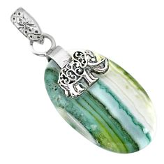 15.82cts natural green opal 925 sterling silver elephant pendant jewelry r91415