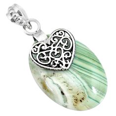 20.77cts natural green opal 925 sterling silver heart pendant jewelry r91409
