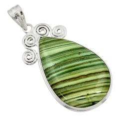 29.32cts natural green opal 925 sterling silver pendant jewelry r30562