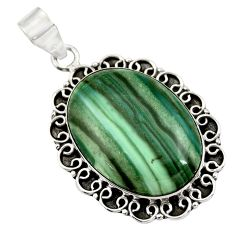 25.19cts natural green opal 925 sterling silver pendant jewelry r30566