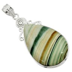 28.08cts natural green opal 925 sterling silver pendant jewelry r30567