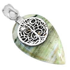 23.97cts natural green opal 925 sterling silver pendant jewelry r91408