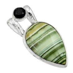20.07cts natural green opal onyx 925 sterling silver pendant jewelry r31897