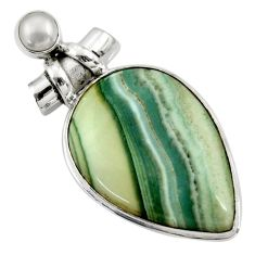 32.02cts natural green opal pearl 925 sterling silver pendant jewelry r30563