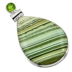 38.33cts natural green opal peridot 925 sterling silver pendant jewelry r30565
