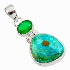 Clearance Sale- 15.08cts natural green opaline chalcedony 925 sterling silver pendant d45432
