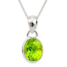 4.30cts natural green peridot 925 sterling silver 18' chain pendant r36457