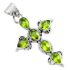 9.28cts natural green peridot 925 sterling silver holy cross pendant r47962