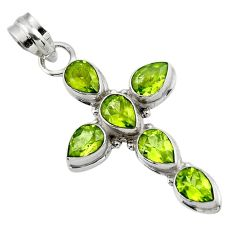 9.44cts natural green peridot 925 sterling silver holy cross pendant r47983