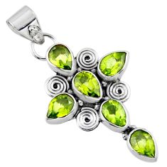 9.58cts natural green peridot 925 sterling silver holy cross pendant r55809