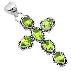 10.30cts natural green peridot 925 sterling silver holy cross pendant r55811