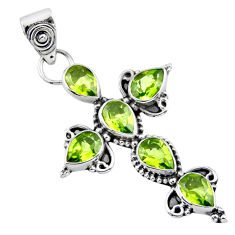 6.58cts natural green peridot 925 sterling silver holy cross pendant r55881