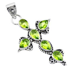 6.59cts natural green peridot 925 sterling silver holy cross pendant r55882
