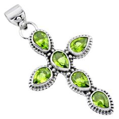 6.58cts natural green peridot 925 sterling silver holy cross pendant r55932