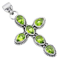 6.31cts natural green peridot 925 sterling silver holy cross pendant r55933
