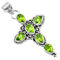 6.58cts natural green peridot 925 sterling silver holy cross pendant r55964