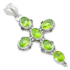 10.01cts natural green peridot 925 sterling silver holy cross pendant t53081