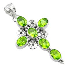9.89cts natural green peridot 925 sterling silver holy cross pendant t53085