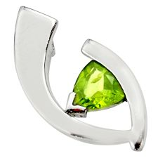 2.97cts natural green peridot 925 sterling silver pendant jewelry d45635