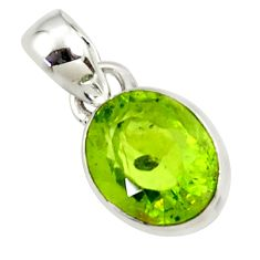 3.76cts natural green peridot 925 sterling silver pendant jewelry r36461
