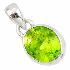 3.93cts natural green peridot 925 sterling silver pendant jewelry r36462