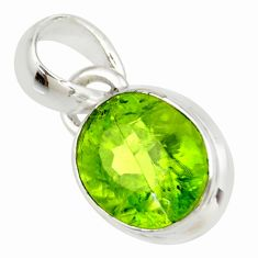 3.72cts natural green peridot 925 sterling silver pendant jewelry r36463