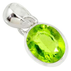 3.68cts natural green peridot 925 sterling silver pendant jewelry r36466