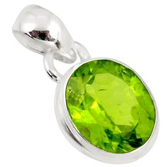 3.96cts natural green peridot 925 sterling silver pendant jewelry r36471