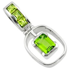 2.56cts natural green peridot 925 sterling silver pendant jewelry r43281
