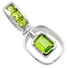 2.69cts natural green peridot 925 sterling silver pendant jewelry r45474