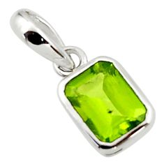 2.21cts natural green peridot 925 sterling silver pendant jewelry r45675