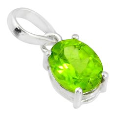 3.03cts natural green peridot 925 sterling silver pendant jewelry r83701