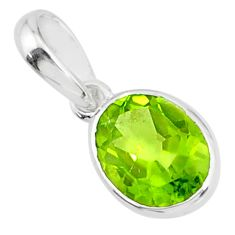 2.58cts natural green peridot 925 sterling silver pendant jewelry r83702