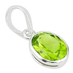 1.64cts natural green peridot 925 sterling silver handmade pendant t7662