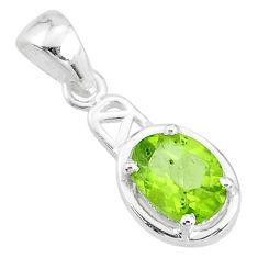 2.02cts natural green peridot 925 sterling silver handmade pendant t7930