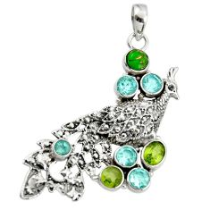 6.90cts natural green peridot copper turquoise 925 silver peacock pendant r44541