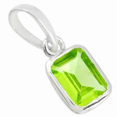 1.89cts natural green peridot octagan 925 sterling silver pendant r70570