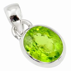 3.73cts natural green peridot oval 925 sterling silver pendant jewelry r36467