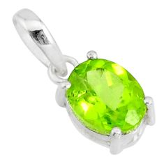 3.01cts natural green peridot oval 925 sterling silver pendant jewelry r83703