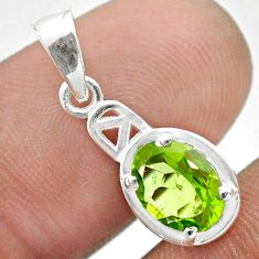 2.04cts natural green peridot oval 925 sterling silver pendant jewelry t51390