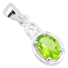 2.05cts natural green peridot oval 925 sterling silver handmade pendant t7917