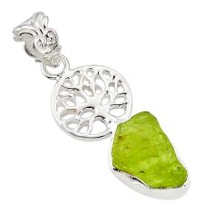 5.87cts natural green peridot rough 925 silver tree of life pendant r31357