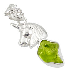 6.58cts natural green peridot rough 925 sterling silver horse pendant r31346