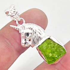 10.04cts natural green peridot rough 925 sterling silver horse pendant r31365