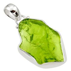 12.65cts natural green peridot rough 925 sterling silver pendant jewelry r29903