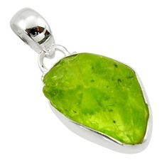 11.17cts natural green peridot rough 925 sterling silver pendant jewelry r29905