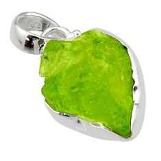 12.58cts natural green peridot rough 925 sterling silver pendant jewelry r29919