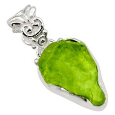 6.85cts natural green peridot rough 925 sterling silver pendant jewelry r29921