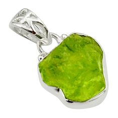 6.61cts natural green peridot rough 925 sterling silver pendant jewelry r29922