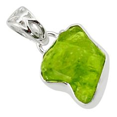 6.85cts natural green peridot rough 925 sterling silver pendant jewelry r29923